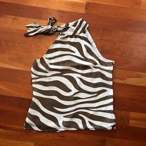 Zebra Striped Layered Halter Top